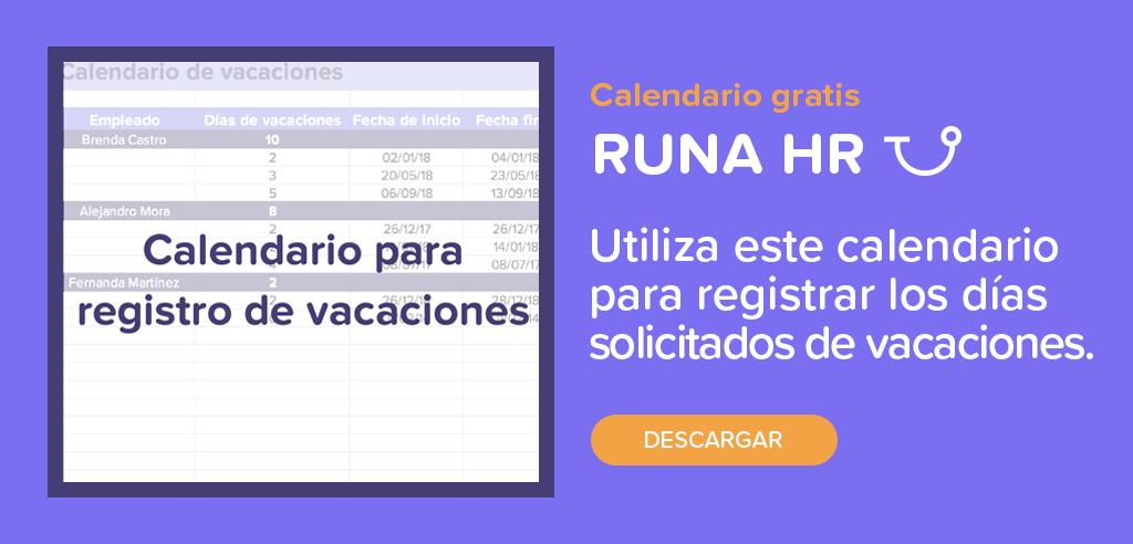 Calendario para registro de vacaciones | Runa HR
