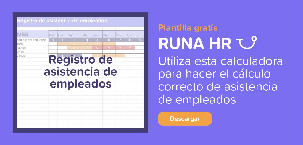 Registro asistencia de empleados | Runa HR