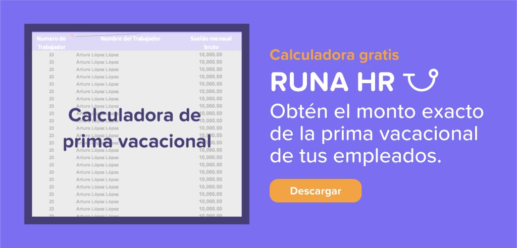 Calculadora de Prima vacacional descargable | Runa HR