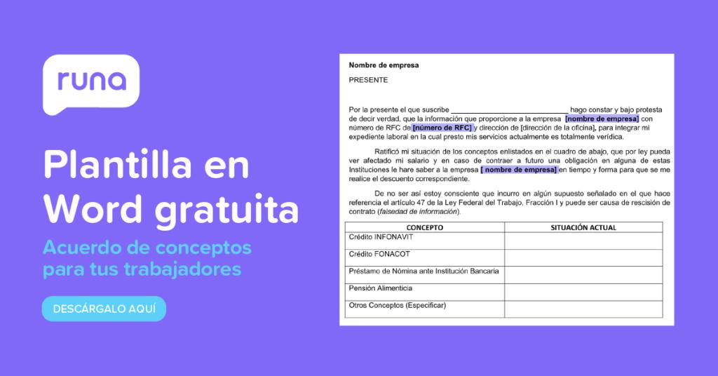 Plantilla Descargable Carta de acuerdos adeudos | Runa HR